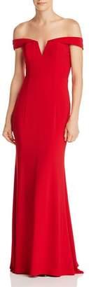 Aqua Off-the-Shoulder V-Neck Gown - 100% Exclusive