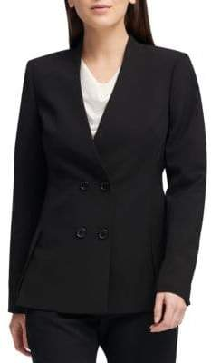 Donna Karan Collarless Double-Breasted Blazer