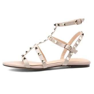 fb56b2b02ac Chris-T Womens Mules Flats Rivets Slides Gold Stud Rivets Strappy Studded  Gladiator Sandals Backless