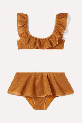 Oséree Kids - Ruffled Stretch-lurex Bikini - Orange