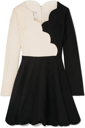 Valentino Scalloped Two-tone Wool And Silk-blend Mini Dress - Black