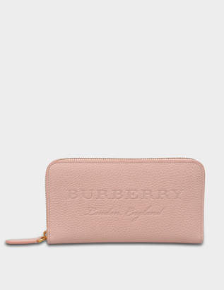 Burberry Zip Around Wallet in Pale Ash Rose Grained Calfskin