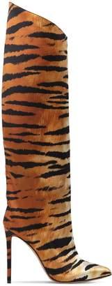 Alexandre Vauthier 110mm Alex Tiger Print Satin Boots