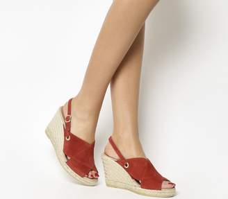 Gaimo For Office Guerin Cross Strap Wedges Garnet Suede