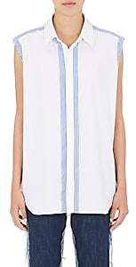 Maison Margiela WOMEN'S STRIPE-TRIMMED COTTON SLEEVELESS BLOUSE - WHITE SIZE 42