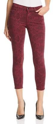 J Brand 835 Mid Rise Crop Skinny Snakeskin Jeans in Boa Oxblood