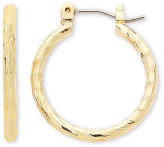 Liz Claiborne Gold-Tone, Textured Hoop Earrings
