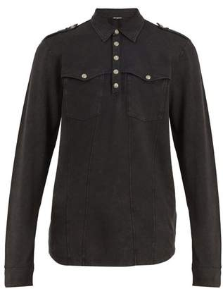 Balmain Long-sleeved cotton polo shirt