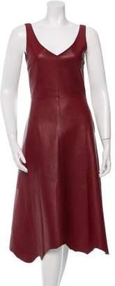 Yang Li Leather Flared Dress