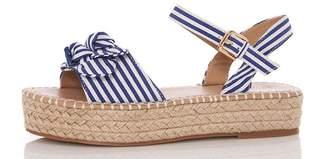 Quiz Blue Stripe Bow Hessian Flatforms