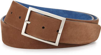 Simonnot Godard Reversible Suede Belt, Light Brown/Royal Blue