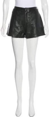 Frame Leather High-Rise Shorts