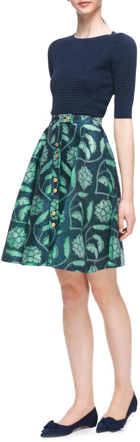 Thom Browne Flare-Front Silk Seersucker Skirt