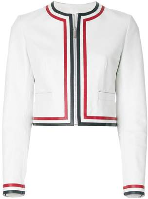 Thom Browne Zip Up Cardigan Jacket With Red, White And Blue Applique In Pebble Grain Leather