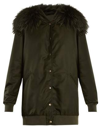 Mr & Mrs Italy Fur-trimmed hooded long-line bomber jacket