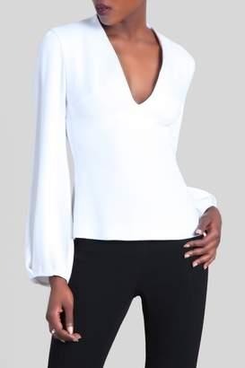Cushnie White Livia Deep V Billow Sleeve Top