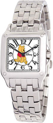 Disney Perfect Square Winnie the Pooh Womens Silver-Tone Watch