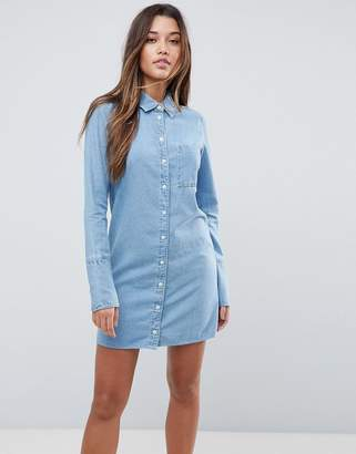 Asos Design DESIGN denim shirt dress with deep cuff detail in midwash blue