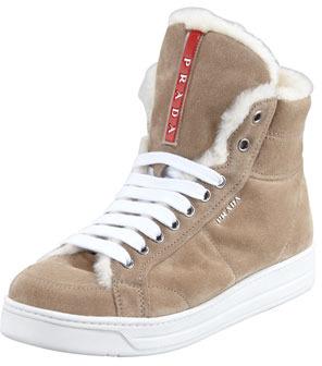 Prada Suede High-Top Sneaker, Desert