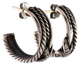 David Yurman Diamond X Crossover Hoop Earrings