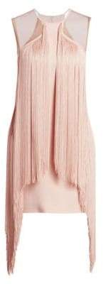 Stella McCartney Scarlet Stretch Cady Sleeveless Fringe Dress