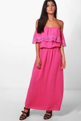 boohoo Bardot Lace Trim Maxi Dress