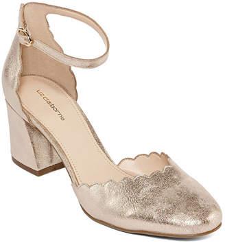 Liz Claiborne Womens Celina Pumps Buckle Pointed Toe Block Heel