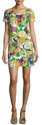 Trina Turk Paisley Lace-Up Short-Sleeve Shift Dress $213 thestylecure.com