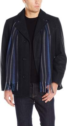 Perry Ellis Men's Wool Button Scarf Coat