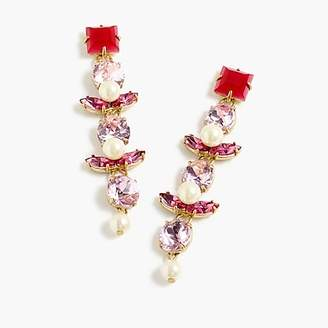 J.Crew Crystal and pearl drop earrings.