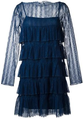 Twin-Set ruffled lace dress $190.56 thestylecure.com