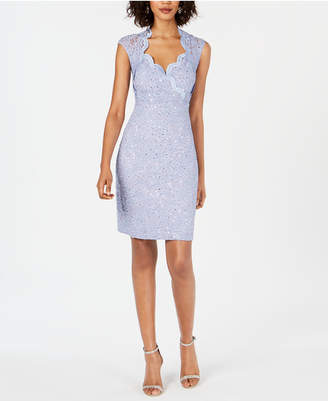 Connected Sequin & Lace Sheath Dress