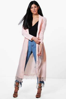 boohoo Angela Lace Trim Belted Shawl Collar Duster