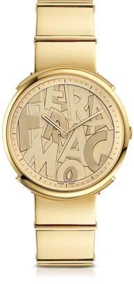 Salvatore Ferragamo Logomania Gold IP Sunray Stainless Steel Women's Watch w Lettering Dial