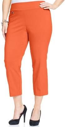 Alfani Womens Plus Tummy Control Casual Capri Pants Orange
