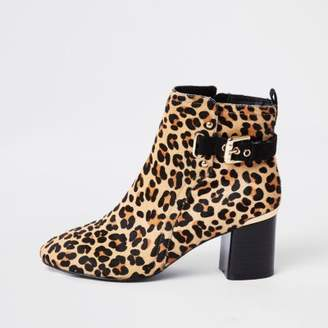 River Island Brown leopard print block heel ankle boots