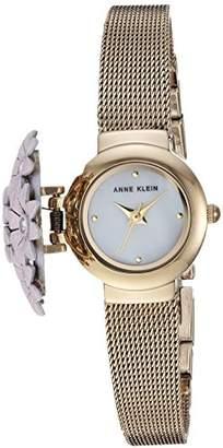 Anne Klein Women's AK/3176PKCV Swarovski Crystal Accented Floral Covered -Tone Mesh Bracelet Watch
