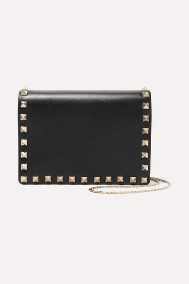 Valentino - The Rockstud Leather Shoulder Bag - Black