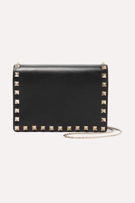 Valentino - The Rockstud Leather Shoulder Bag - Black $1,195 thestylecure.com