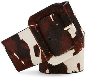 Topshop Cow-Print Wide Leather Belt