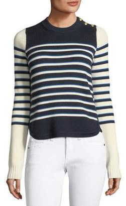 Veronica Beard Amos Striped Merino Button Sweater