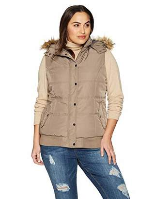 The Plus Project Women's Warm Padded Vest with Faux Fur