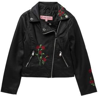 Urban Republic Embroidered Faux Leather Moto Jacket (Big Girls)