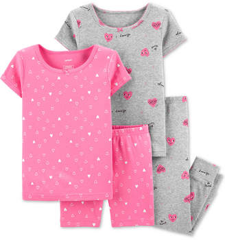 Carter's Carter Baby Girls 4-Pc. Cotton Hearts Pajama Set