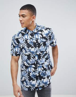 Jack Wills Wallingford Printed Short Sleeve Shirt in Navy