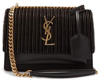 Saint Laurent Sunset Small Leather And Velvet Cross Body Bag - Womens - Black
