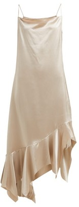 Marques Almeida Marques'almeida - Asymmetric Silk Charmeuse Midi Dress - Womens - Beige