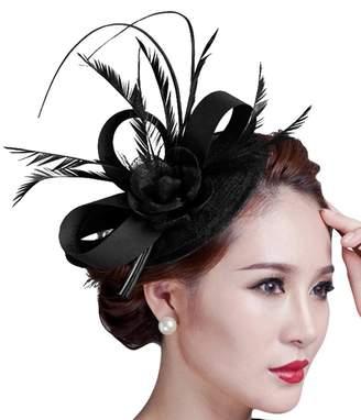 Fascigirl Sinamay Fascinator Hat Feather Party Pillbox Hat Flower Derby Hat  for Women 6f7f9d8fd2a