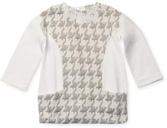 Ki6 Baby Three-Quarter Sleeve Houndstooth Dress with Embroidery