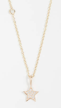 Chicco Zoe 14k Gold Charm Necklace with Medium Pave Diamond Star